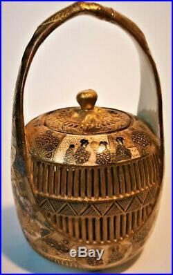 Meiji Period Japanese Satsuma Pottery Porcelain Cricket Cage Signed Shimazu Clan