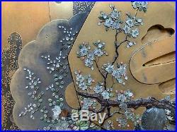 Meiji Period Japanese inlaid Shibayama gilded lacquer tray Tsuba design