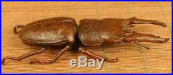 Meiji Period Stunning Japanese Detailed Lucanidae Stag Beetle With Open LID