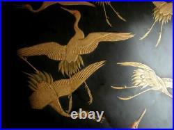 Meiji Taisho period Japanese Wooden Makie Lacquer Box Crane Japan