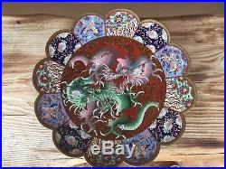 Meiji period Japanese Cloisonné plate. Fighting Dragons