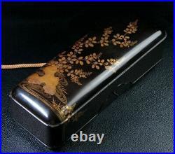 Meiji period Japanese Wooden Makie Lacquer Box Nandina Japan