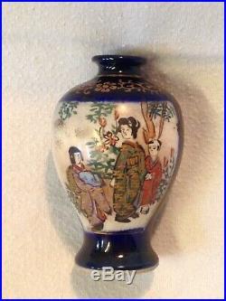 Miniature Japanese Satsuma Vase Blue / Gold Moriage Signed Kinkozan Meiji Period