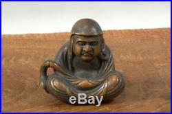 NW121 Japanese Antique wooden Daruma Netsuke boxwood Meiji period