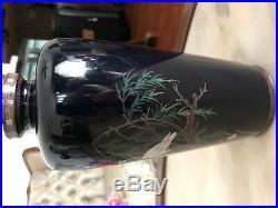 Old Antique Japanese Meiji Period Cloisonne Vase Signed