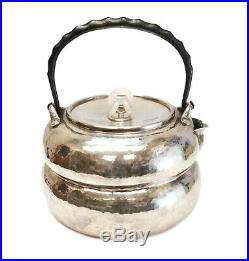 Outstanding Japanese 950 Silver Hand Hammered Teapot & Jade Finial, Meiji Period