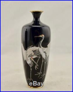 Pair Antique Hayashi Meiji-Period Japanese Cloisonne silver wire Crane vases