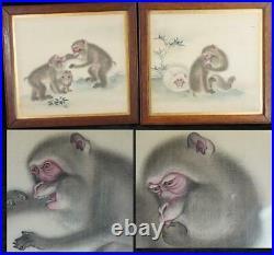 Pair Antique Japanese Meiji Period Monkey Paintings On Silk