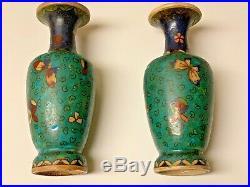 Pair Antique Japanese Meiji Period Shippo Totai Vases, Cloisonné on Porcelain