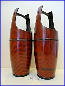Pair Of Japanese Meiji Period Ikebana Lacquered Wooden Vases. C 1910