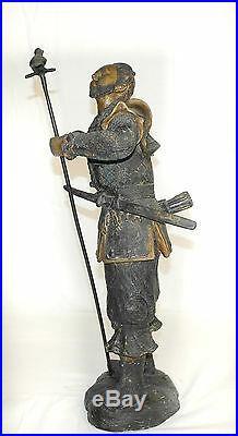 Pair Of Meiji Period (1868-1912) Japanese Hayabusa Bronze Samurai Warrior Statue