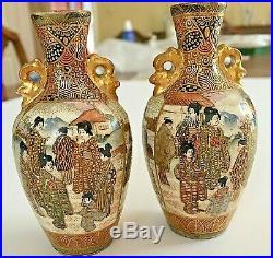 Pair of Japanese Satsuma Miniature vases. Meiji period Signed Satsuma