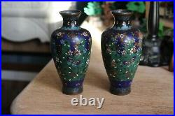 Pair of Late 19th Century Meiji Period Japanese Cloisonne Vases (1868-1912)
