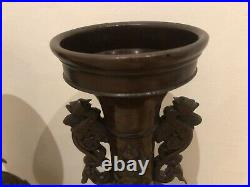 Pair of antique Japanese Bronze Patina Vases. Meiji period