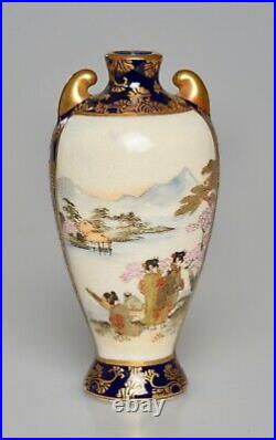 Perfect Antique Japanese Satsuma Miniature Vase Signed Meiji Period