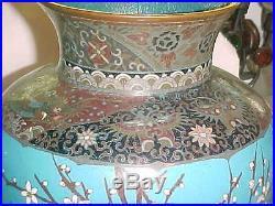 Pr Monumental 18 Meiji-period Japanese Cloisonne Enamel Copper Vase Crane Eagle