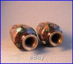 Quality Miniature Pair of Miniature Japanese Meiji period Cloisonne Vases