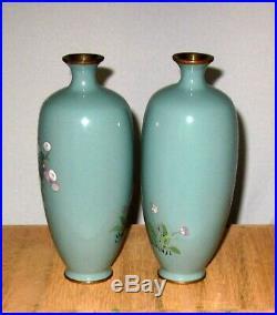 RARE Fine Pair Meiji Period Japanese Silver Wire Cloisonne Enamel Vases -Signed