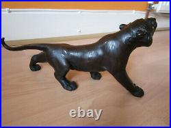 REDUCED Splendid Signed Japanese Bronze Tiger with Original Box Meiji Period