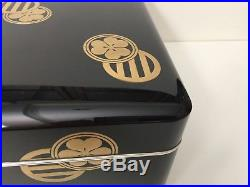 Rare Antique Meiji Period Japanese Gold & Black Lacquered Box withJapanese Crest
