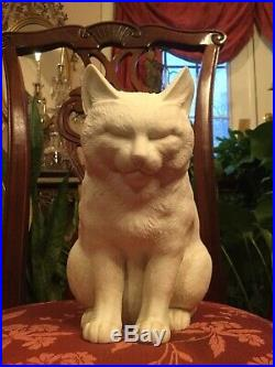 Rare Antique Meiji Period Japanese HIRADO WHITE SLEEPING SITTING CAT PERFECT