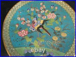 Rare Japanese Cloisonne Plate, Meiji Period, c 1850, Bird Lotus Flowers, HEAVY