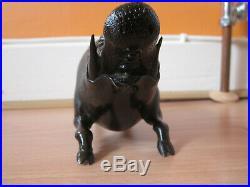 Rare Japanese Meiji Period Bronze Pig Wild Boar Statue Okimono Signed c1910