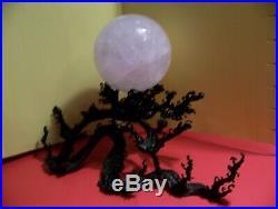 Rare Japanese Meiji Period Wave Pattern Bronze And Quartz Crystal Ball-fr Ship