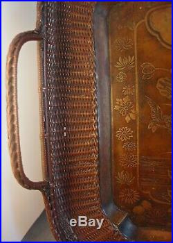 Rare Large Japanese Woven Bronze Tray Meiji Period