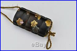 Rare Signed Japanese Meiji Period Inro with Netsuke and Mop Silver & Gold Overlay