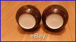Rare pair of genuine antique japanese cinnebar totai shippo vases meiji period