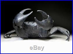 SIGNED JIZAI OKIMONO Statue Black Crab Japanese Meiji period Antique 725g Large
