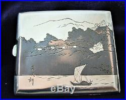 STUNNING Silver & Mixed Metal Japanese Signed Cigarette Case Meiji Period 87g