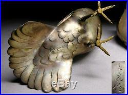 SUPERB SIGNED Pigeons Statue Meiji-period Japanese Antique Artwork