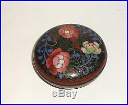 Sano Toyosaburo Kyoto Meiji Period Japanese Cloisonne Enamel Rose Jar Box Signed
