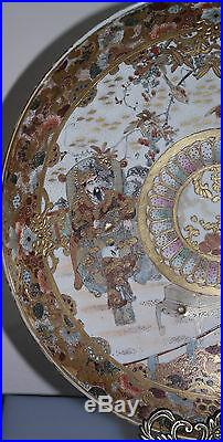 Satsuma Japanese Painted Porcelain Charger Meiji Period Circa 1900