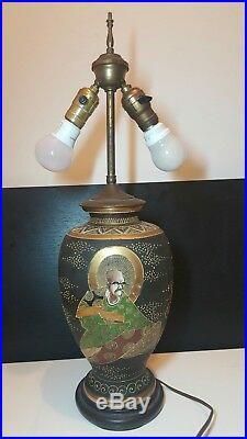 Satsuma Large Japanese Vase Lamp With Bronce Inlay Meiji Period