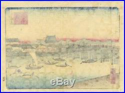 Shosai Ikkei, Landscape, Tokyo, Meiji Period, Original Japanese Woodblock Print