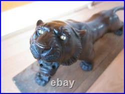 Signed Japanese Bronze Tiger with Original Box Meiji Period