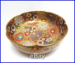 Signed Japanese Gold Satsuma Porcelain Millefleur Bowl Meiji Period