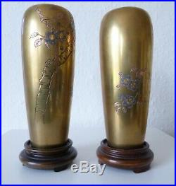 Stunning Japan Japanese Pair Of Bronce Vases Nogawa and signed Meiji Period