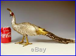 Superb Japanese Meiji Period Silvered Bronze Peacock Okimono