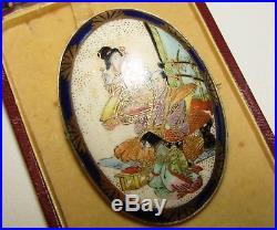Superb, Large, Antique, Japanese Meiji Period Sterling Silver Satsuma Enamel Brooch