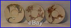 Three (3) Japanese antique Satsuma saucer dishes, by Yabu Meizan, Meiji period