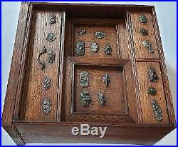 Top antique Japanese Miniature Jewelry Cabinet with Samurai Menuki Meiji Period