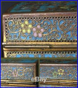 VG76 Japanese Meiji period Antique Cloisonne flower bird box