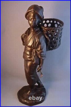 V Large Meiji Period Japanese Bronze Okimono of Young Woman with Basket (Seiya)