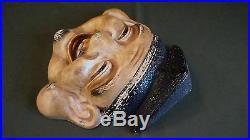 Very Fine Japanese Meiji Period Polychrome Mud Clay Mask Man with Black Hat
