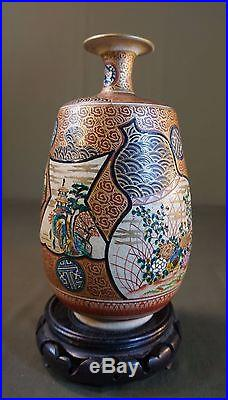 Very Fine Large Japanese 1860 Meiji Period Kutani Shoza Polychrome Sake Bottle