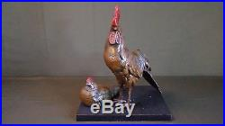 Very Fine Large Japanese Meiji Period Polychrome Bronze Rooster & Hen Statue